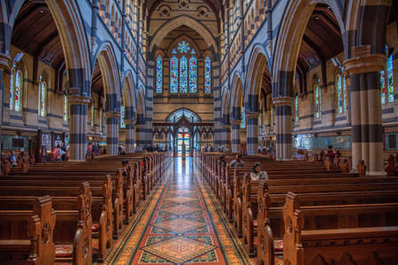 MELBOURNE, AUSTRALIA, DECEMBER 31, 2019: Interior of Saint Paul cathedral in Melbourne, Australia