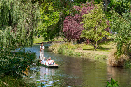 CHRISTCHURCH, NEW ZEALAND, JANUARY 21, 2020: Punting on river Avon in Christchurch, New Zealand