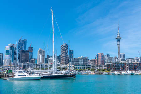 AUCKLAND, NEW ZEALAND, FEBRUARY 20, 2020: Sky tower view from port of Auckland, New Zealand