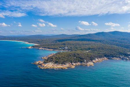 Aerial view of coastline of Bay of Fires in Tasmania, Australia