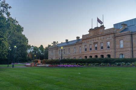 Sunset view of Illuminated parliament house of Tasmania in Hobart, Australia