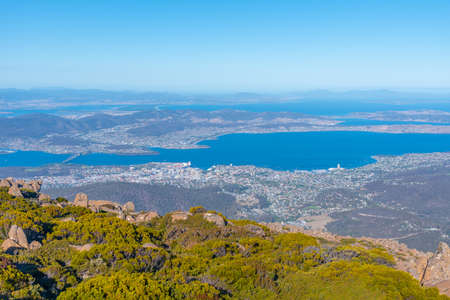 Aerial view of Hobart from Mount Wellington in Australia