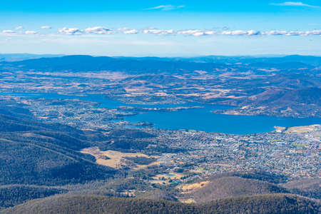 Aerial view of Hobart from Mount Wellington in Australia Stock Photo