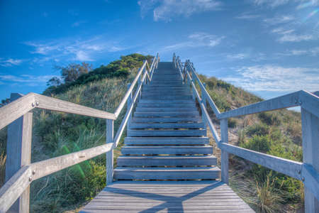 Wooden staircase at the Neck of Bruny island in Tasmania, Australia