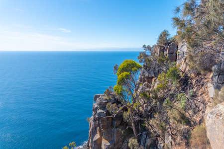 Cliffs of Fluted Cape at Bruny island in Tasmania, Australia Фото со стока