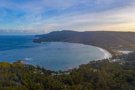 Aerial view of Pirates bay in Tasmania, Australia