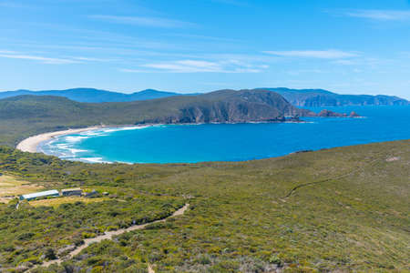 Aerial view of Lighthouse bay at Bruny Island in Tasmania, Australia 免版税图像