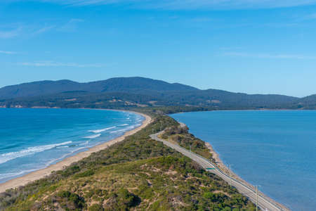 View of the Neck of Bruny island in Tasmania, Australia 免版税图像