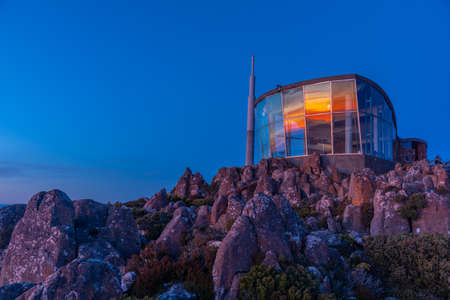 Sunrise view of Pinnacle shelter at Mount Wellington in Hobart, Australia