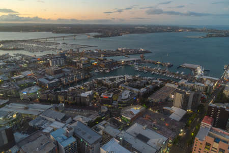 AUCKLAND, NEW ZEALAND, FEBRUARY 19, 2020: Night aerial view of waterfront of Auckland from Sky tower, New Zealand Redakční