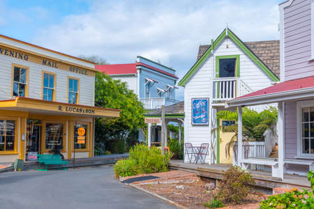 NELSON, NEW ZEALAND, FEBRUARY 5, 2020: Historial buildings at Founders Heritage Park at Nelson, New Zealand