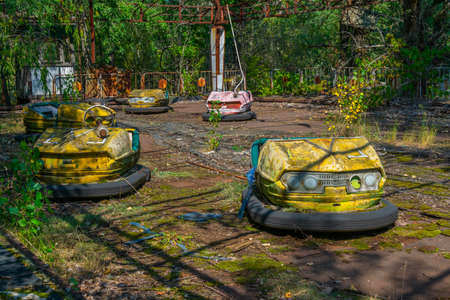 Old bumper cars at Pripyat amusement park in the Ukraine
