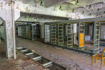 Ravaged control room of radar Duga station at Chernobyl, Ukraine