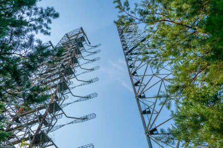 Steel construction of Radar Duga station in the Ukraine Stock Photo