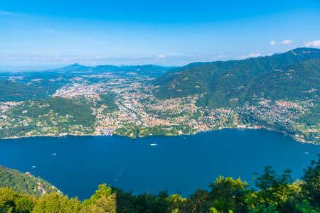 Aerial view of Cernobbio and Tavernola towns near lake Como in Italy