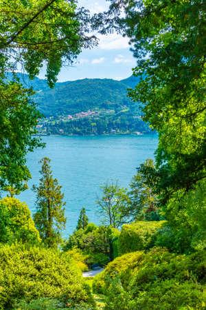Lake Como viewed from Botanical garden at Villa Carlotta at Tremezzo, Italy