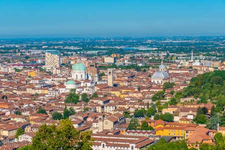 Cathedral of Santa Maria Assunta and Aerial view of Italian city Brescia