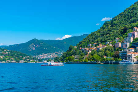 Lakeside promenade alongside lake Como in Italy