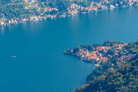 Aerial view of Torno village and lake Como in Italy