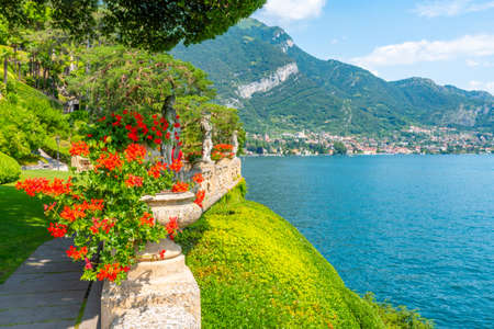 Tremezzo viewed behind flowers, Italy