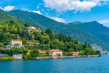 View of Villa Pizzo at lake Como in Italy Stockfoto