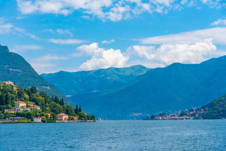 Lake Como viewed from a ferry, Italy