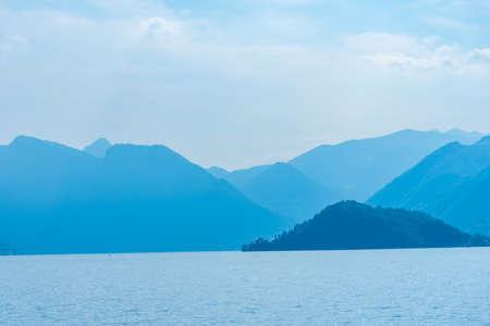 Lake Como viewed from Botanical garden at Villa Melzi at Bellagio, Italy