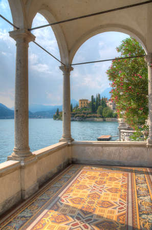 Villa Cipressi viewed from an altan at villa monastero at Varenna in Italy