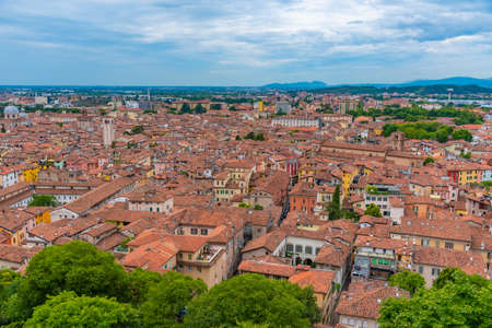 Aerial view of the old town of Italian city Brescia