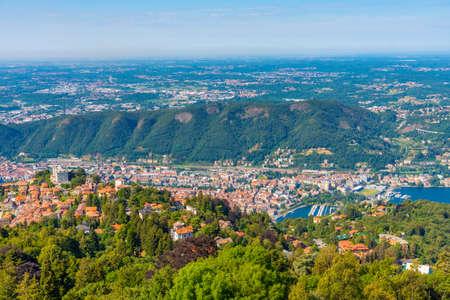 Aerial view of Brunate village near lake Como in Italy Stockfoto