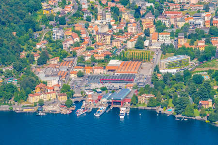 Aerial view of Tavernola village and lake Como in Italy