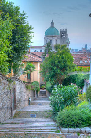 Stairway leading to the cathedral of Santa Maria Assunta in Brescia, Italy