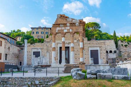 Roman ruins of Tempio Capitolino in Brescia, Italy Archivio Fotografico