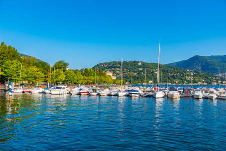 View of a marina at Como town in Italy