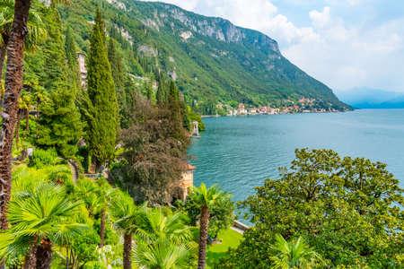 Lake como viewed from gardens of Villa Monastero, Italy