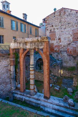 Roman ruins in the center of Brescia, Italy