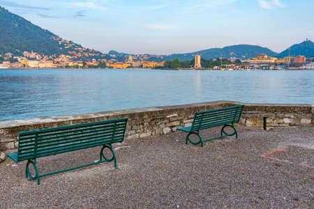 Sunset cityscape of Italian town Como