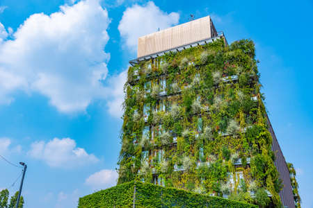 Plants living on a wall if a highrise building in Milano, Italy