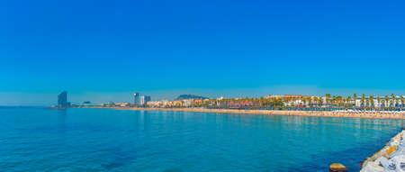 Summer day at Barceloneta beach in Barcelona, Spain
