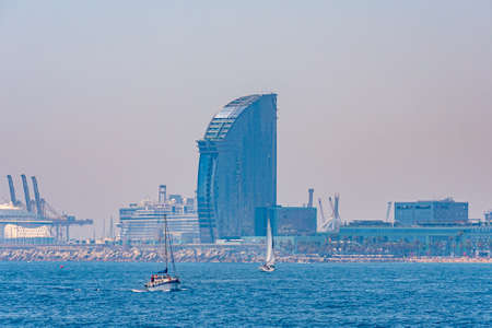 Waterfront of Barcelona dominated by Hotel W designed by Ricardo Bofill, Spain