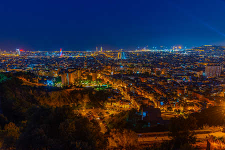 Night aerial view of Barcelona in Spain