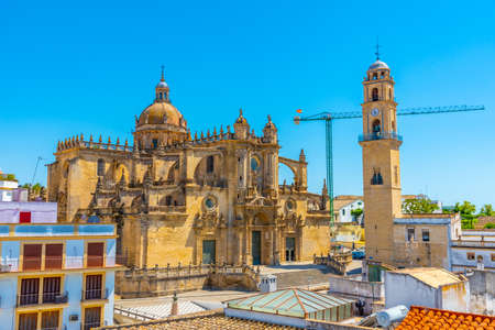 Aerial view of the cathedral of holy saviour in Jerez de la Frontera in Spain
