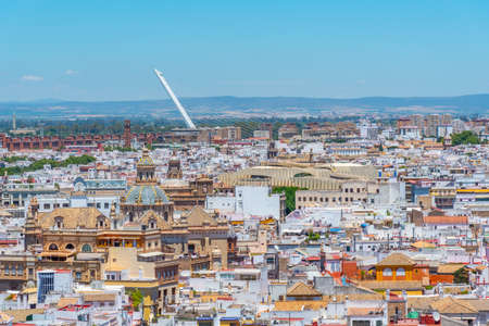 Downtown view of Sevilla with Metropolis Parasol and alamillo bridge, Spain Stock Photo