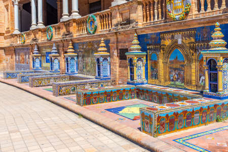 Detail of colorful tiles at Plaza de Espana in Sevilla, Spain