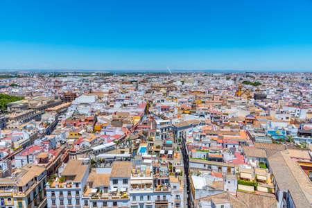 Downtown view of Sevilla with Metropolis Parasol and alamillo bridge, Spain