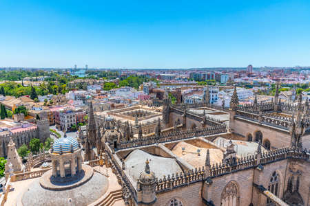 Aerial view of the cathedral in Sevilla, Spain