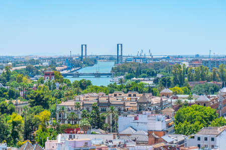Aerial view of centennial bridge in Sevilla, Spain