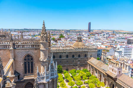 Aerial view of Sevilla from la giralda tower with bullfighting arena and Torre Sevilla, Spain