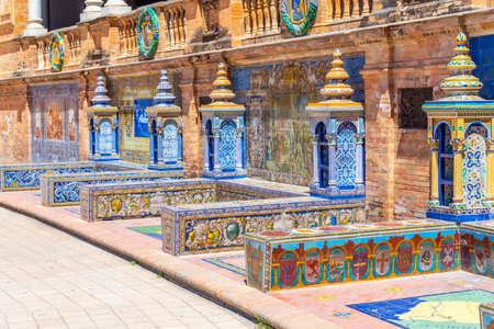 Detail of colorful tiles at Plaza de Espana in Sevilla, Spain Stock Photo