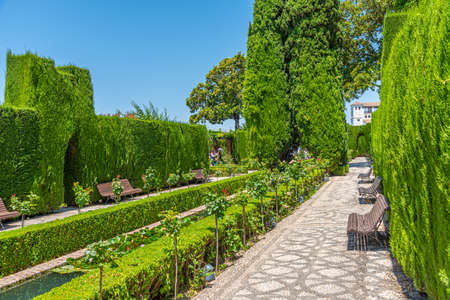 Jardines bajos at Generalife gardens in Granada, Spain 免版税图像